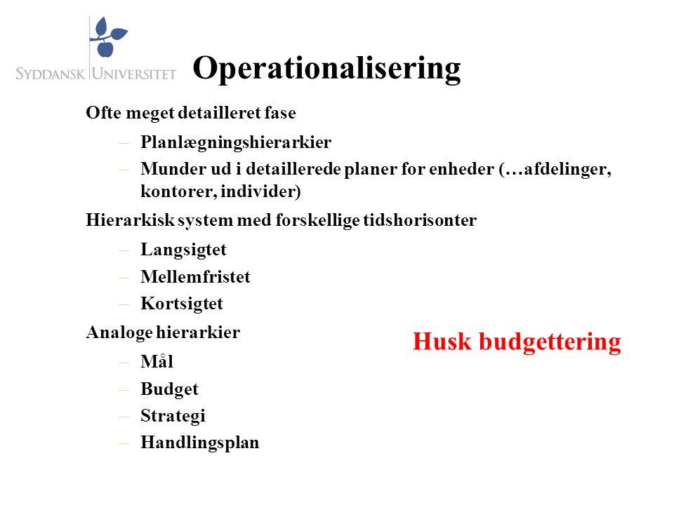 Operationalisering Husk budgettering Ofte meget detailleret fase