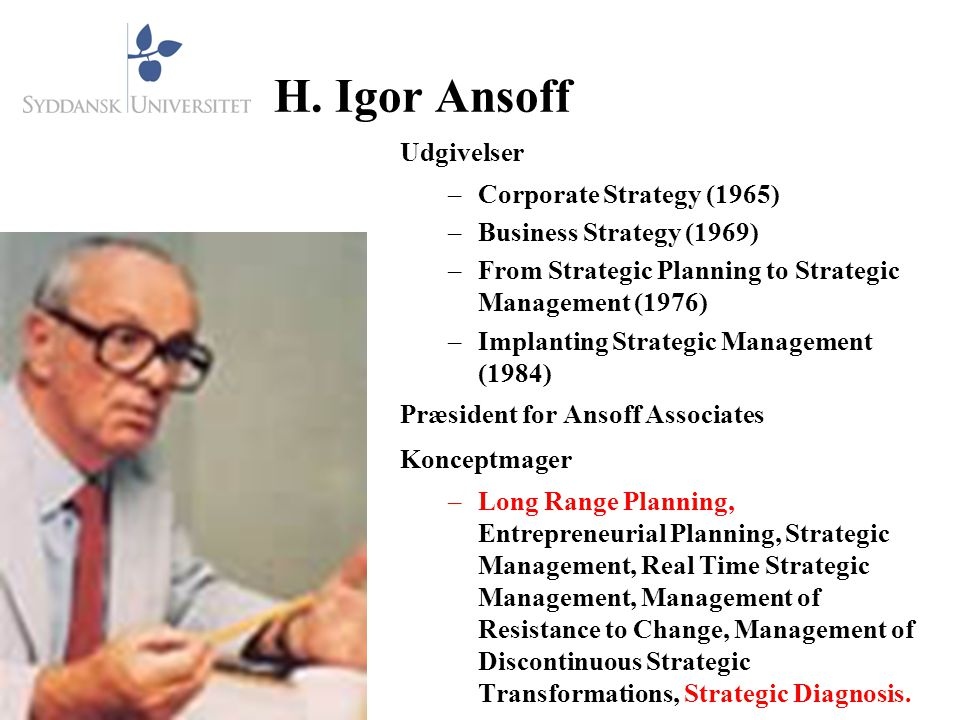 H. Igor Ansoff Udgivelser Corporate Strategy (1965)