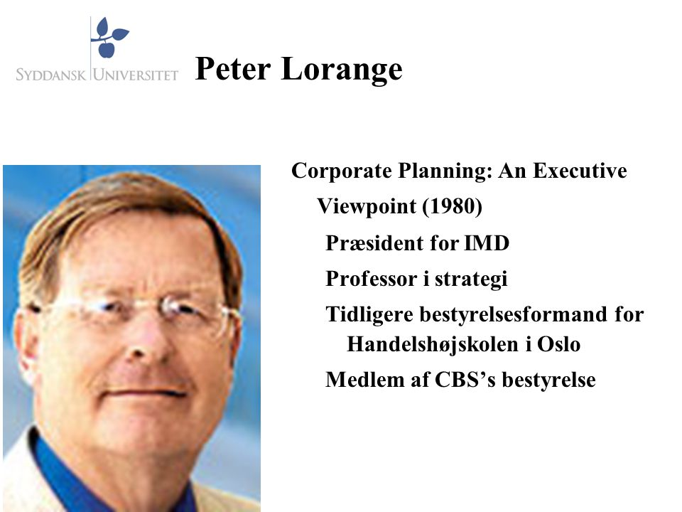 Peter Lorange Corporate Planning: An Executive Viewpoint (1980)