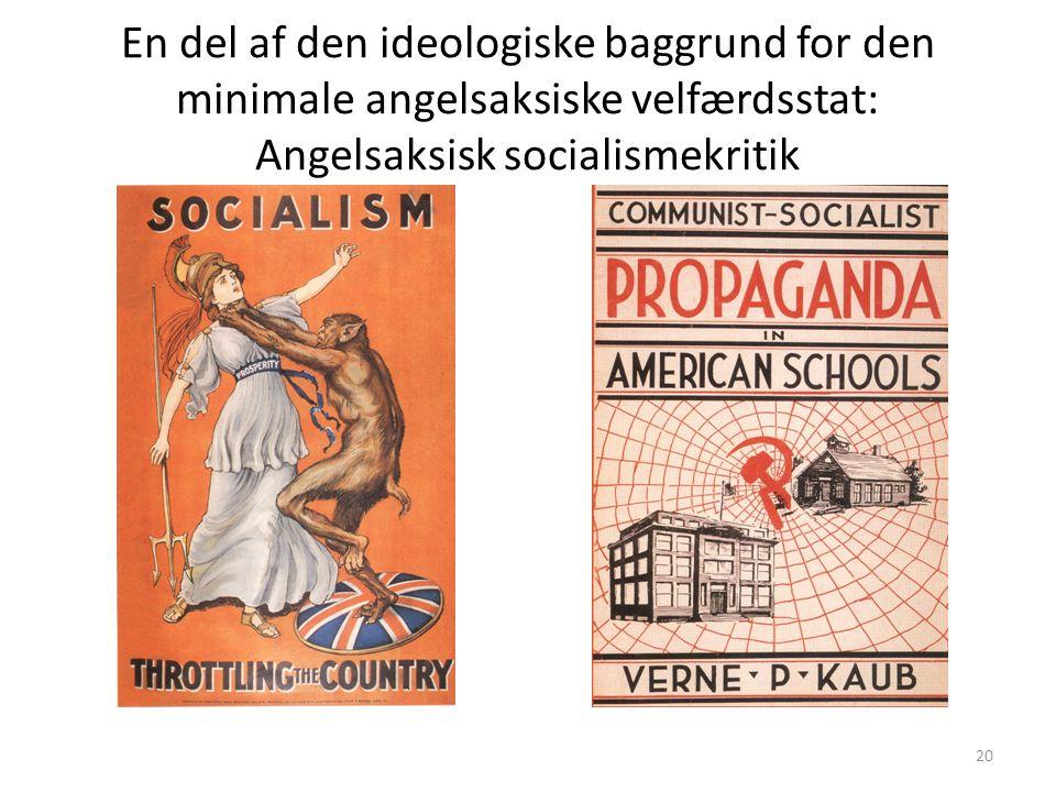 En del af den ideologiske baggrund for den minimale angelsaksiske velfærdsstat: Angelsaksisk socialismekritik