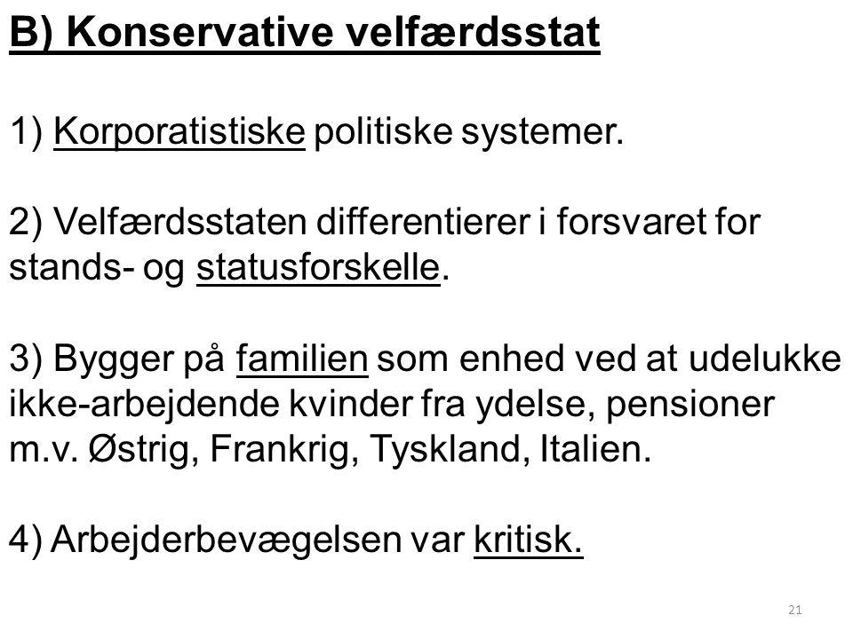 B) Konservative velfærdsstat