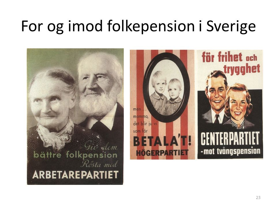 For og imod folkepension i Sverige