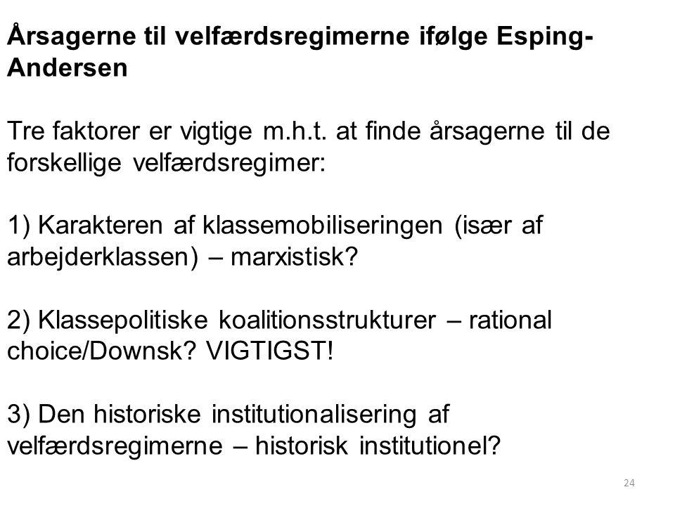 Årsagerne til velfærdsregimerne ifølge Esping-Andersen