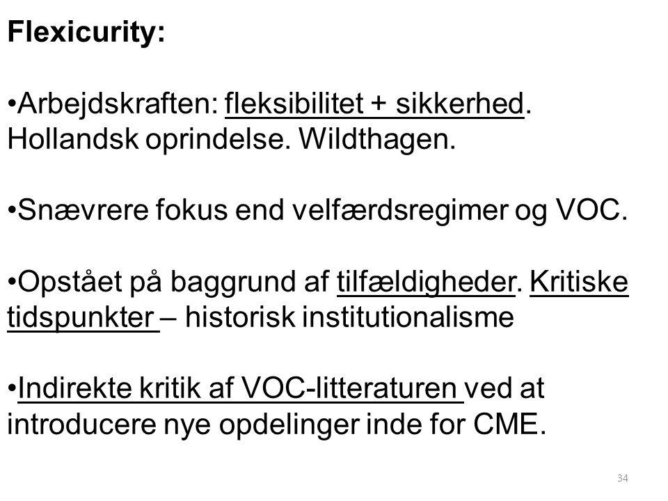 Flexicurity: Arbejdskraften: fleksibilitet + sikkerhed. Hollandsk oprindelse. Wildthagen. Snævrere fokus end velfærdsregimer og VOC.
