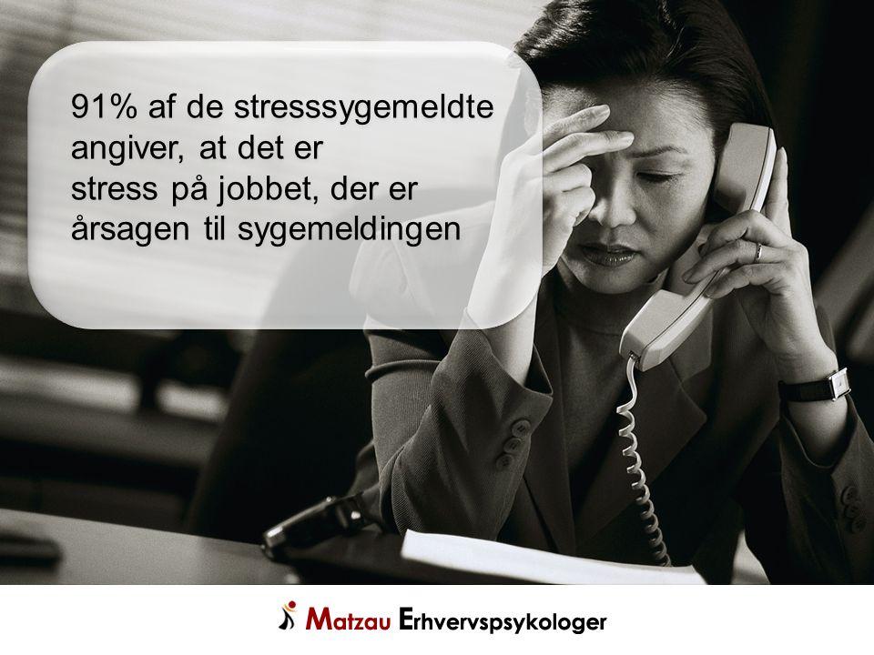 91% af de stresssygemeldte angiver, at det er