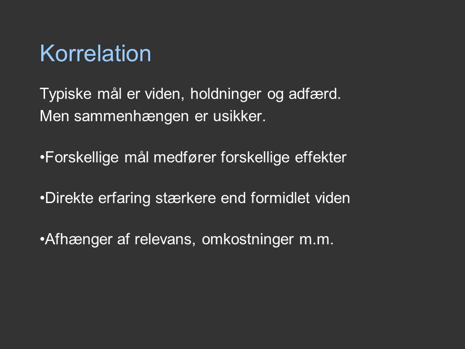Korrelation Typiske mål er viden, holdninger og adfærd.