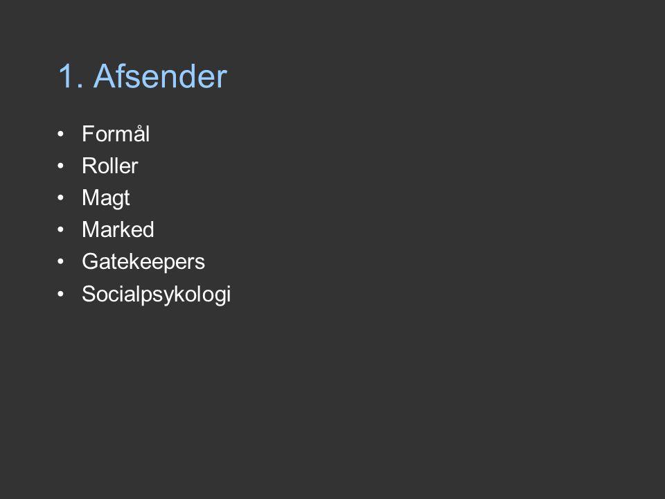 1. Afsender Formål Roller Magt Marked Gatekeepers Socialpsykologi