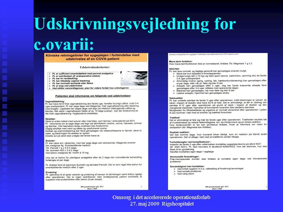 Udskrivningsvejledning for c.ovarii: