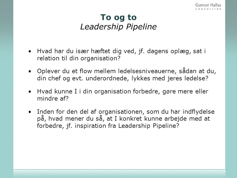 To og to Leadership Pipeline
