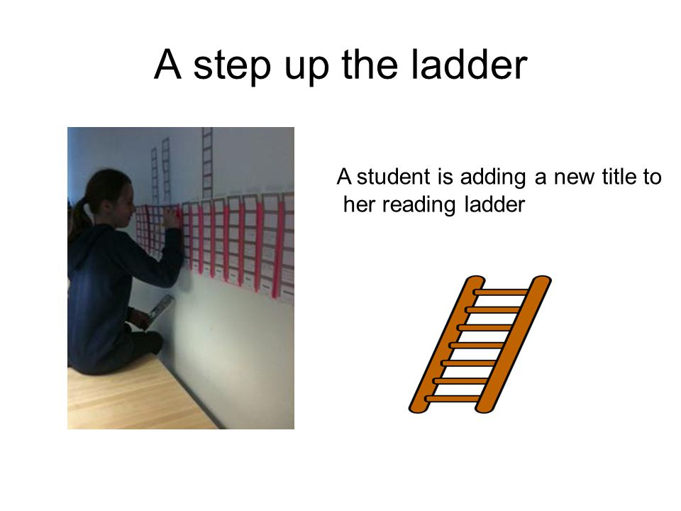 A step up the ladder A student is adding a new title to