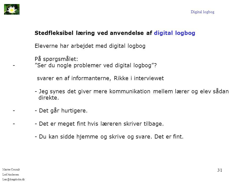 Stedfleksibel læring ved anvendelse af digital logbog