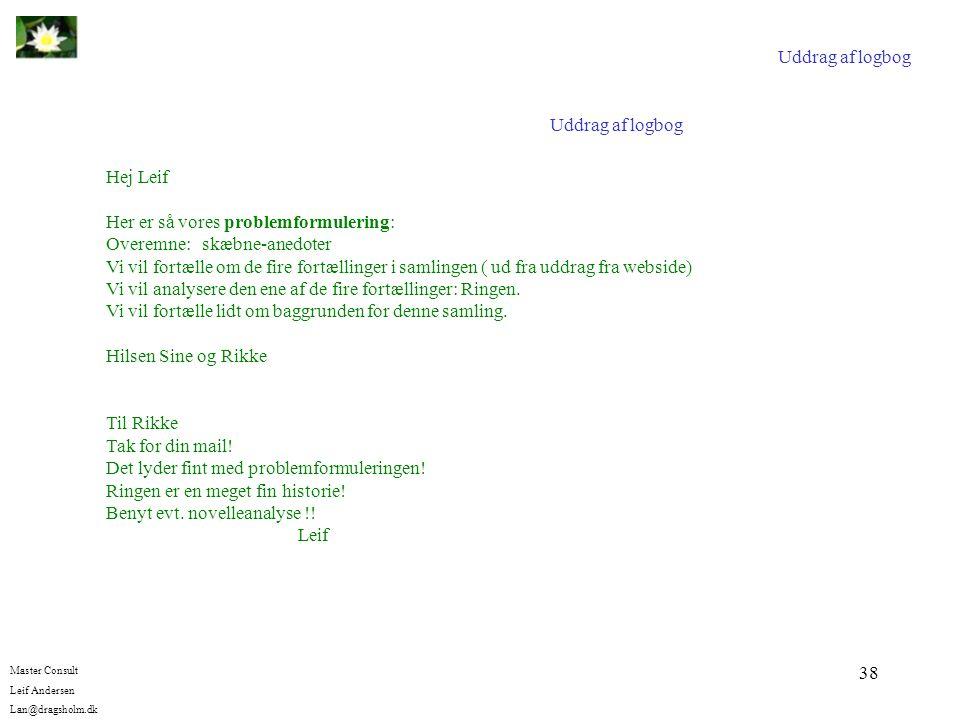 Uddrag af logbog Uddrag af logbog. Hej Leif. Her er så vores problemformulering: Overemne: skæbne-anedoter.