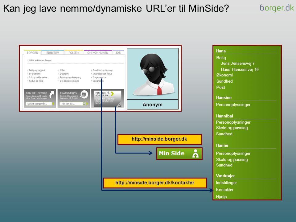Kan jeg lave nemme/dynamiske URL'er til MinSide