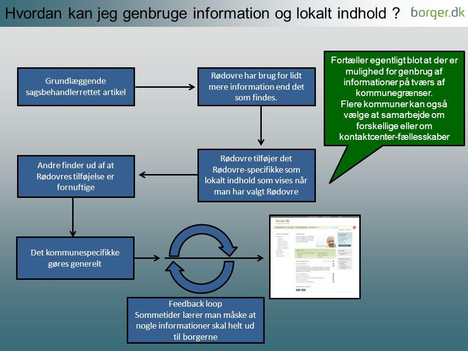 Hvordan kan jeg genbruge information og lokalt indhold