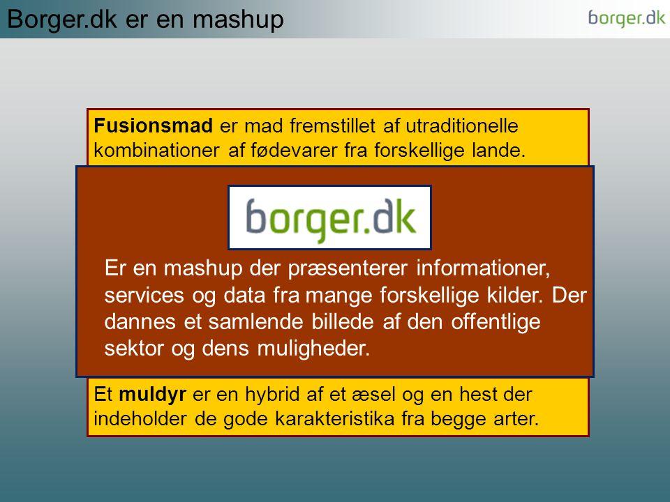 Borger.dk er en mashup Fusionsmad er mad fremstillet af utraditionelle kombinationer af fødevarer fra forskellige lande.