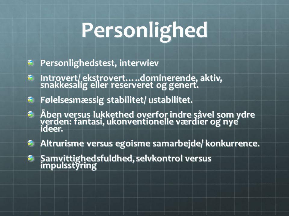Personlighed Personlighedstest, interwiev