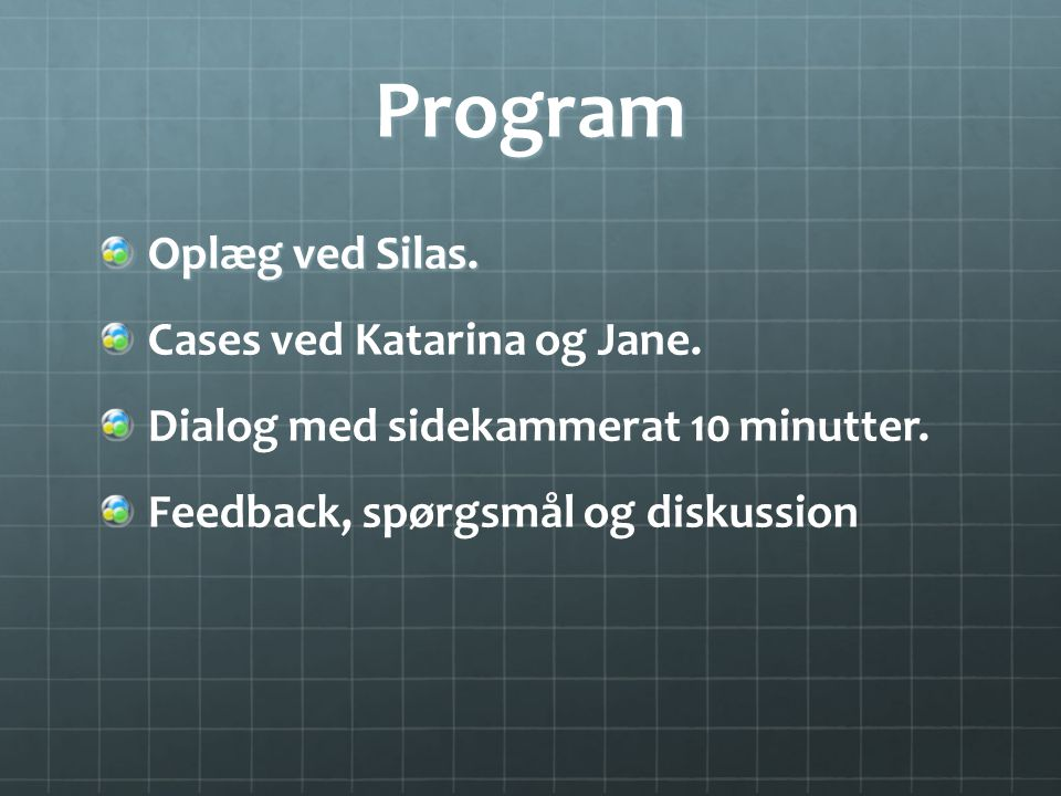 Program Oplæg ved Silas. Cases ved Katarina og Jane.