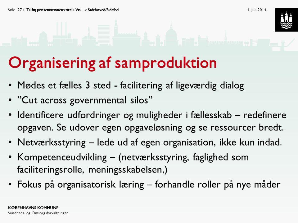 Organisering af samproduktion