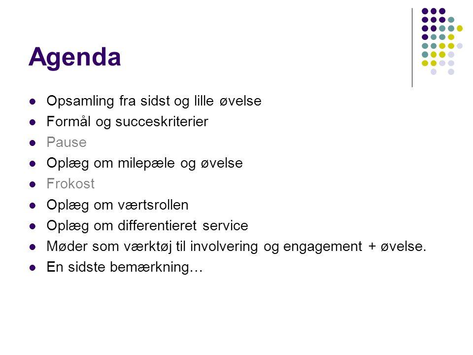 Agenda Opsamling fra sidst og lille øvelse Formål og succeskriterier