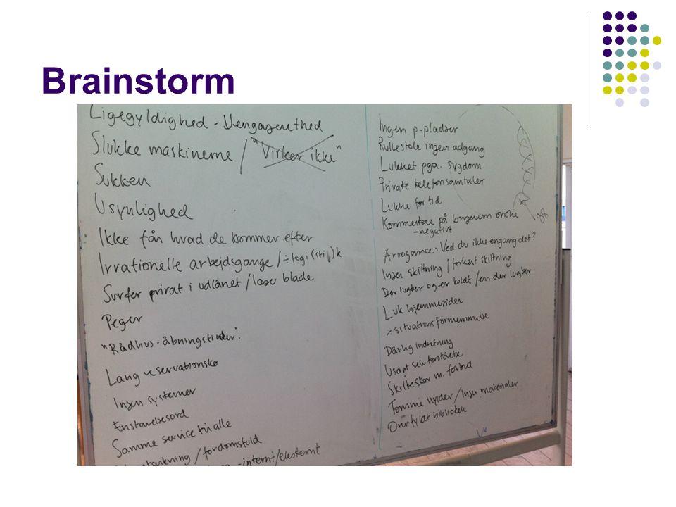 Brainstorm Vi havde jo den omvendte brainstorm sidst, hvor vi talte om god og dårlig service.