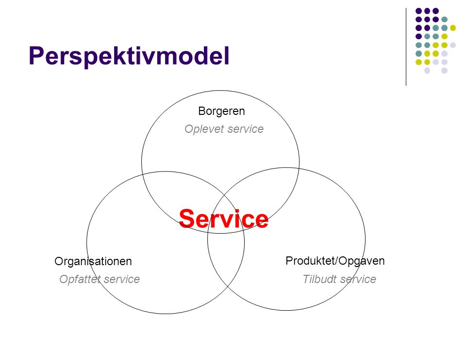 Service Perspektivmodel Borgeren Oplevet service Organisationen