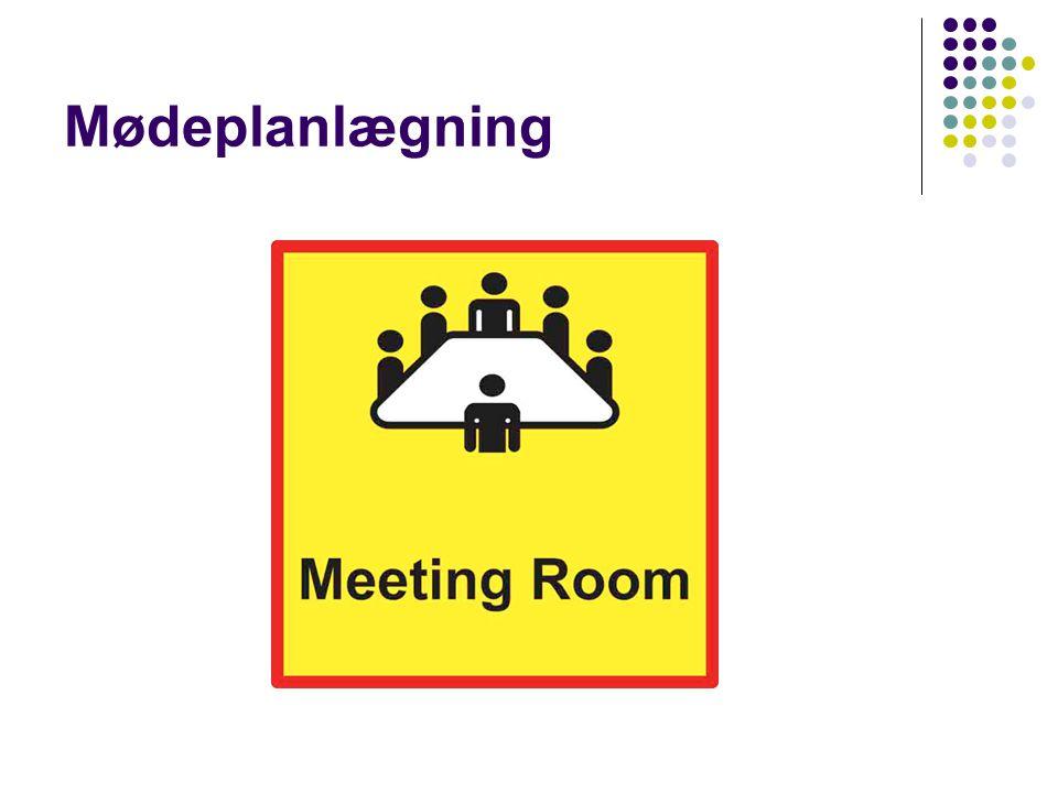 Mødeplanlægning Et møde er en samling af mindst to