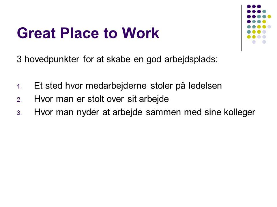 Great Place to Work 3 hovedpunkter for at skabe en god arbejdsplads: