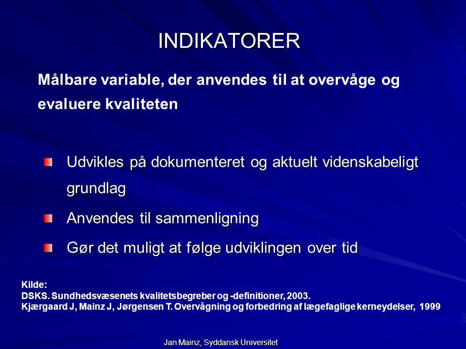 INDIKATORER Målbare variable, der anvendes til at overvåge og evaluere kvaliteten. Udvikles på dokumenteret og aktuelt videnskabeligt grundlag.