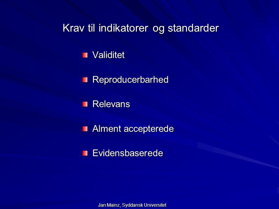 Krav til indikatorer og standarder