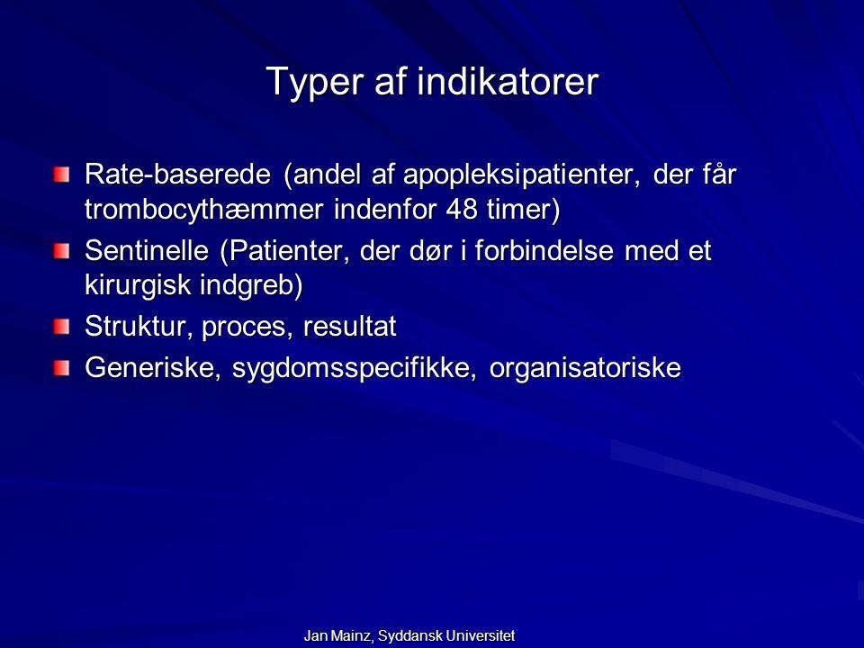 Typer af indikatorer Rate-baserede (andel af apopleksipatienter, der får trombocythæmmer indenfor 48 timer)