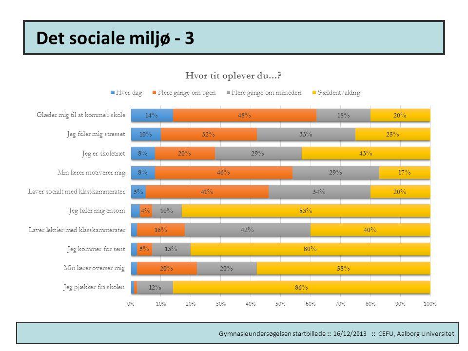 Det sociale miljø - 3 Måler elevtrivsel og motivation.