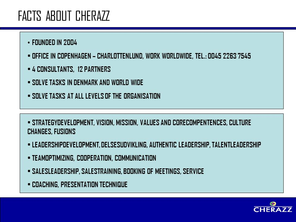 FACTS ABOUT CHERAZZ FOUNDED IN 2004
