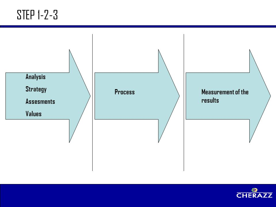 STEP 1-2-3 Analysis Strategy Assesments Values Process