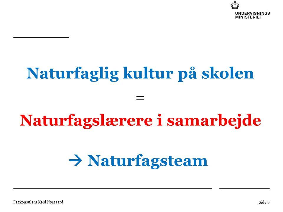 Naturfaglig kultur på skolen Naturfagslærere i samarbejde