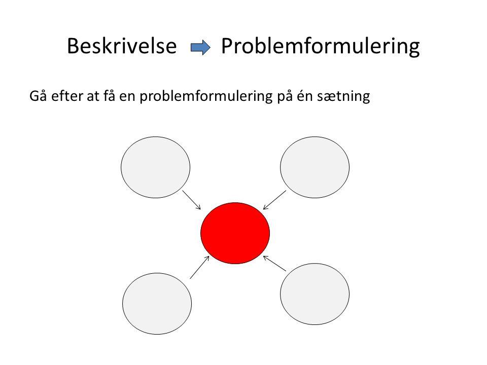 Beskrivelse Problemformulering