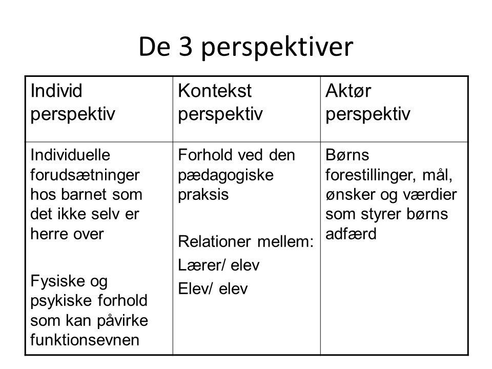 De 3 perspektiver Individ perspektiv Kontekst perspektiv