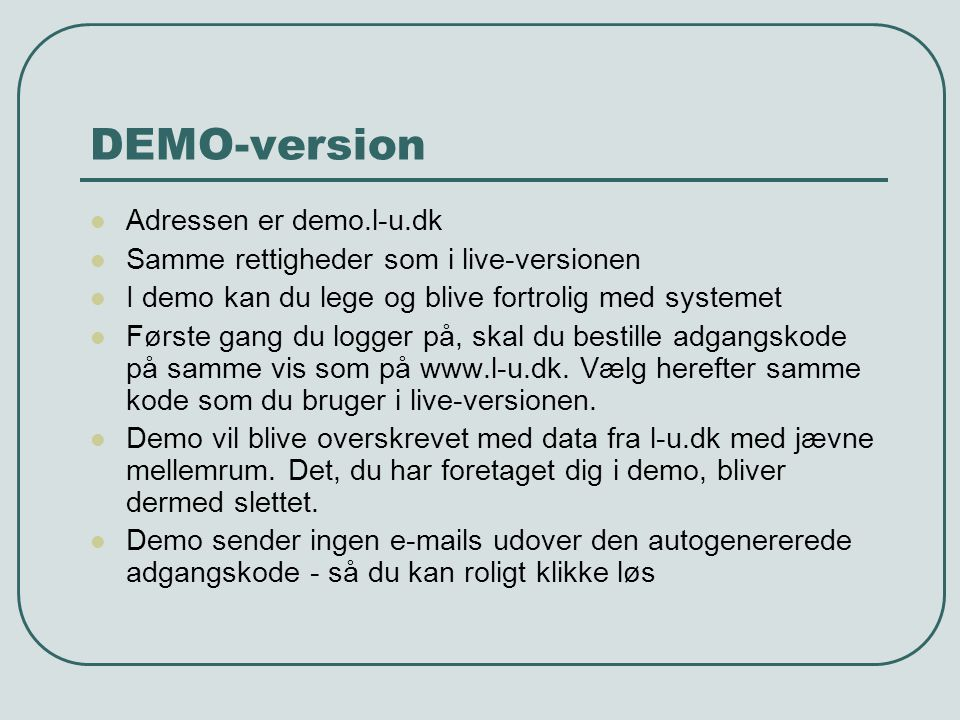 DEMO-version Adressen er demo.l-u.dk