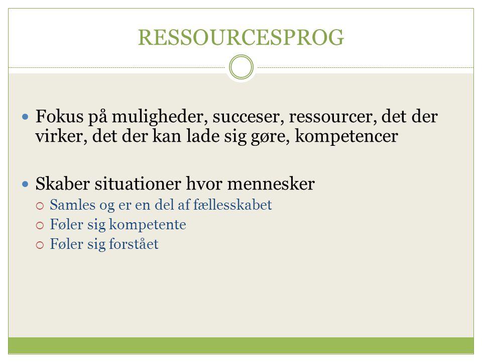 RESSOURCESPROG Fokus på muligheder, succeser, ressourcer, det der virker, det der kan lade sig gøre, kompetencer.