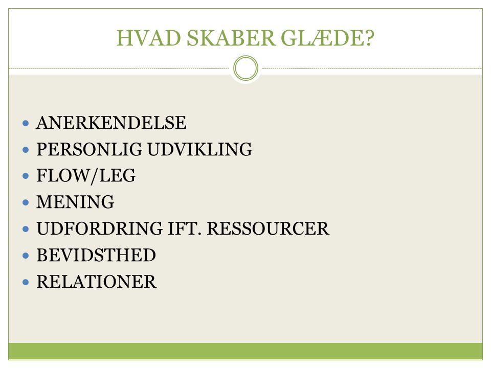 HVAD SKABER GLÆDE ANERKENDELSE PERSONLIG UDVIKLING FLOW/LEG MENING