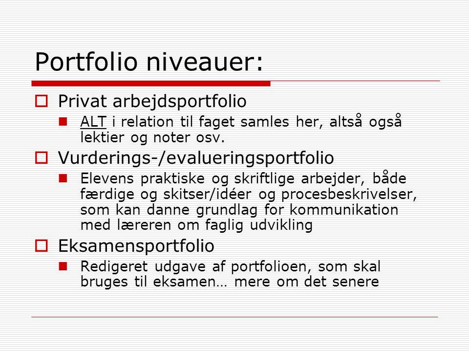 Portfolio niveauer: Privat arbejdsportfolio