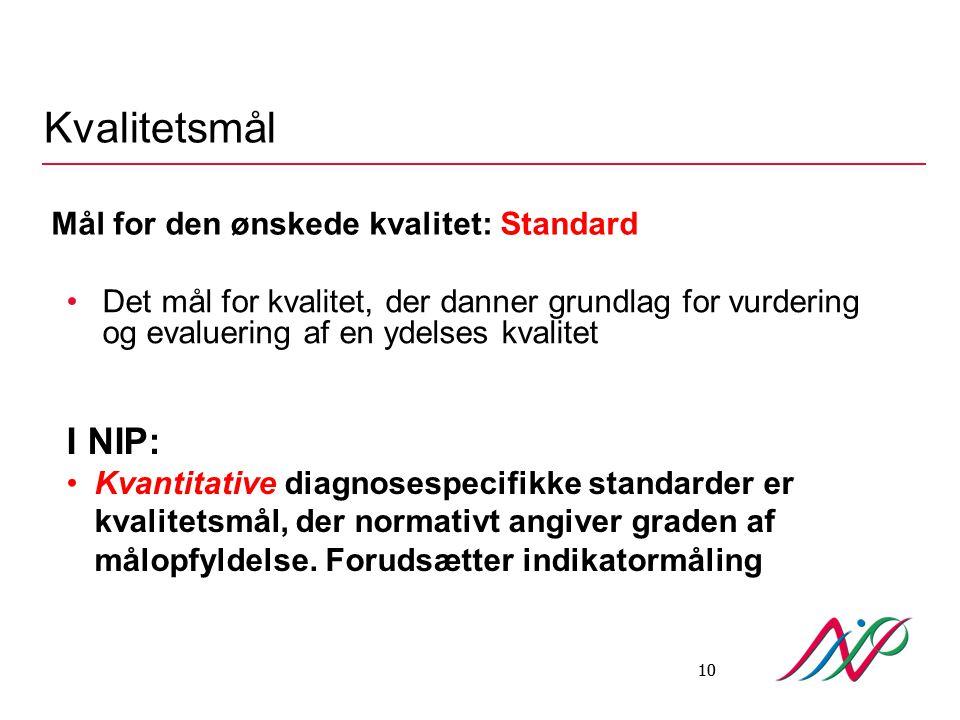 Kvalitetsmål I NIP: Mål for den ønskede kvalitet: Standard