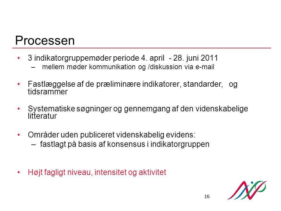Processen 3 indikatorgruppemøder periode 4. april - 28. juni 2011