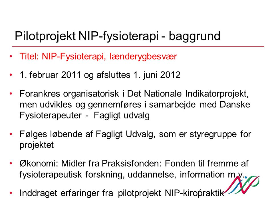 Pilotprojekt NIP-fysioterapi - baggrund