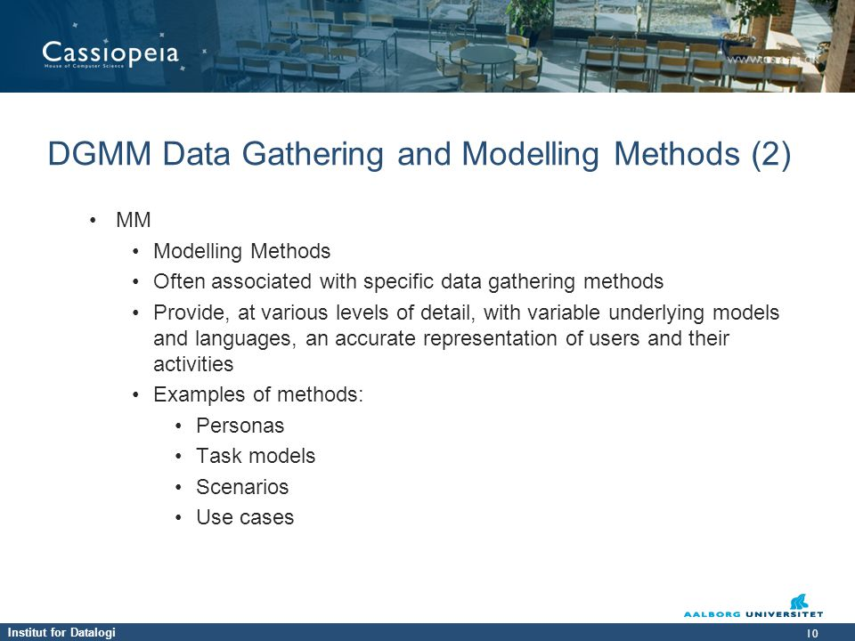 DGMM Data Gathering and Modelling Methods (2)