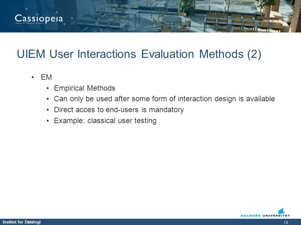 UIEM User Interactions Evaluation Methods (2)