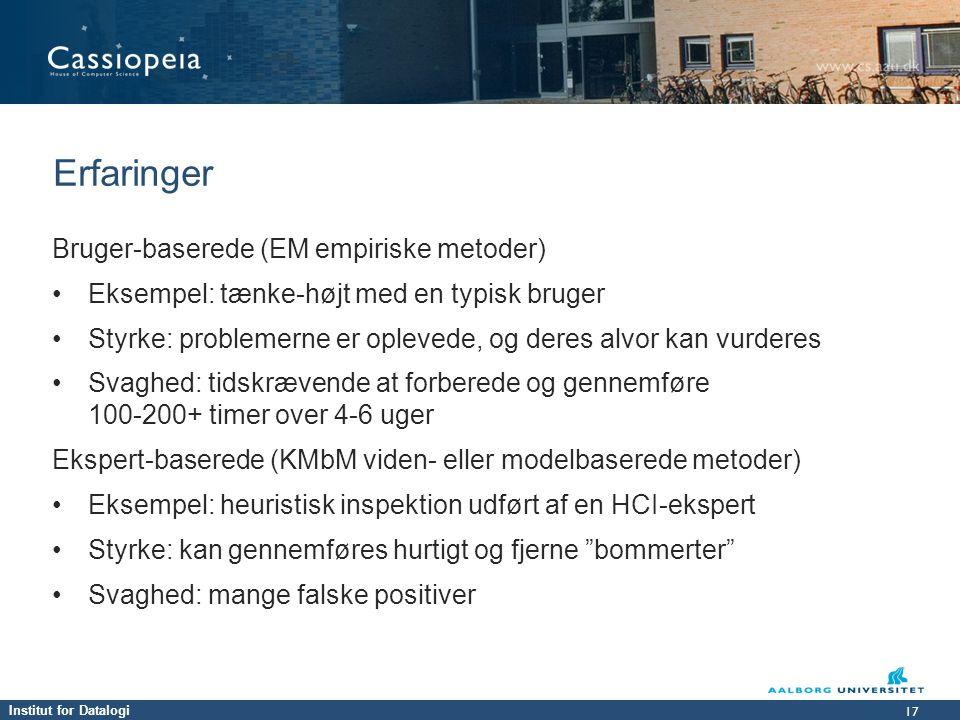Erfaringer Bruger-baserede (EM empiriske metoder)