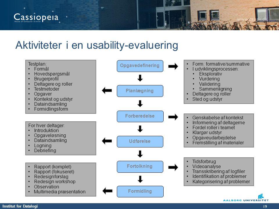 Aktiviteter i en usability-evaluering