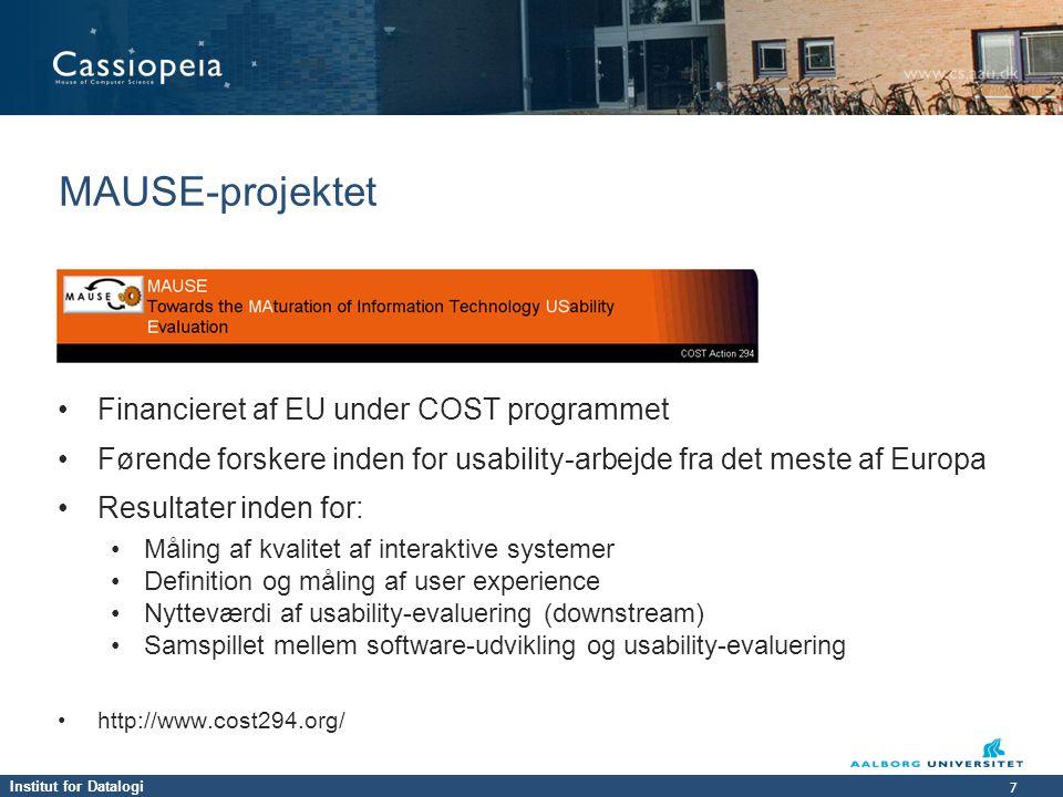 MAUSE-projektet Financieret af EU under COST programmet