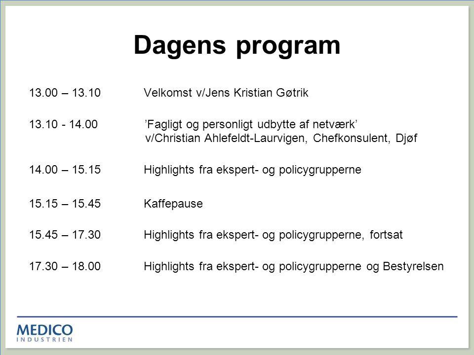 Dagens program 13.00 – 13.10 Velkomst v/Jens Kristian Gøtrik