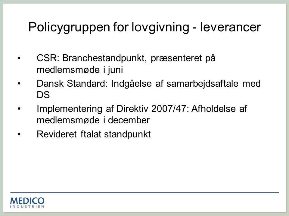 Policygruppen for lovgivning - leverancer